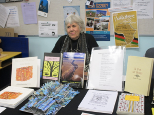 Marilyn Stablein at the Small Press Fair CPF3, Nanaimo. (Photo by Mary Ann Moore)